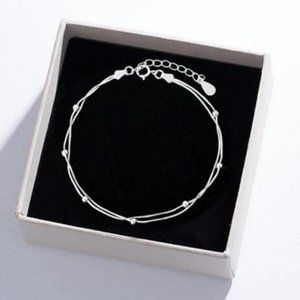 *NEW 925 Sterling Silver Layered Bead Bracelet